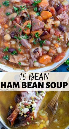 This Ham 15 Bean Soup Recipe is great wintertime comfort food. Use up those holiday ham leftovers in this ham bean soup. #hambeansoup #souprecipes #leftoverhamrecipes #beanrecipes #dinnerrecipes #easydinnerrecipes 15 Bean Soup, Ham And Bean Soup, Bean Soup Recipes, Ham Soup, Healthy Soup Recipes, Potato Soup, Chili Recipes, Crockpot Recipes, Leftover Ham Recipes
