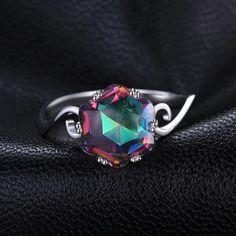 Genuine Rainbow Fire Mystic Topaz Ring Solid 925 Sterling Silver Jewelry Best Gift For Women Fine Jewelry Topaz Jewelry, Sterling Silver Jewelry, Silver Earrings, Silver Jewellery, 925 Silver, Silver Bracelets, Earrings Uk, Garnet Jewelry, Silver Metal