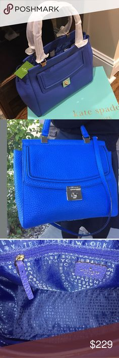 """NWT Kate Spade Beautiful Island Deep Tote ABSOLUTELY GORGEOUS in Island Deep Blue Pebbled Leather!  Features:  - Blue pebbled leather  - Turn lock closure  - Kate Spade blue fabric lining  - Interior: 1 zip pocket, 2 slip pockets  - Measures: 10""""H x 5""""W x 13""""L.                           100% AUTHENTIC Kate Spade Tallulah Everett Way Satchel  - -  Regular Price: $398 kate spade Bags Totes"""