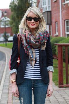 striped shirt, navy blazer, plaid scarf