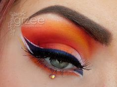 Grzee orange and red eye shadow
