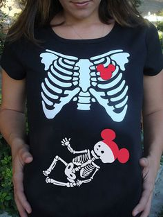 Skeleton Maternity Xray shirt mouse ears & heart - disney trip to mickey's trick or treat costume