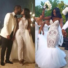 wedding dress into wedding jumpsuit! Wedding Jumpsuit, Wedding Dress Organza, Wedding Bridesmaid Dresses, Dream Wedding Dresses, Wedding Attire, Wedding Gowns, Couples African Outfits, Pretty Prom Dresses, Bridal Photoshoot
