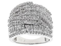 2.00ctw Round and Baguette Diamond Rhodium Over Sterling Silver Ring