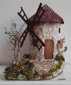 Moulin en carton pour la crèche de Noël