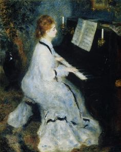 YOUNG WOMAN AT THE PIANO (1876) by Auguste Renoir | Impressionism | Oil on canvas | Art Institute of Chicago, Chicago, IL, USA