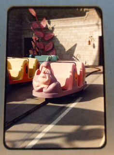 Original 1958 35mm Slide Disneyland Alice in Wonderland Adventures Ride Pink Car