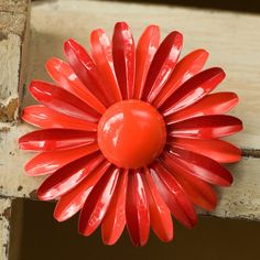 Large Red Vintage Gerber Daisy Brooch or Pin