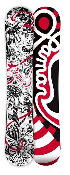 LaMar Alllure - Snowboard Design by Laura Kottlowski, via Behance Surfboard Skateboard, Skateboard Design, Skateboard Decks, Winter Fun, Winter Time, Alice In Wonderland Room, Snowboard Design, Snow Fun, Snowboarding Gear