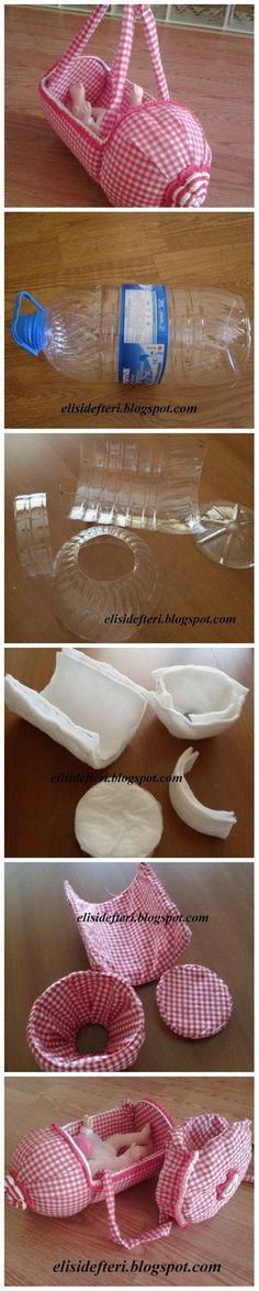 Discover thousands of images about DIY Doll PET Bottle Stroller Plastic Bottle Crafts, Recycle Plastic Bottles, Plastic Recycling, Doll Crafts, Diy Doll, Doll Patterns, Sewing Patterns, Diy For Kids, Crafts For Kids