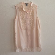 Pink detailed sleeveless top -forever 21 Light, airy, pink detailed sleeveless top. Great for summer!! Forever 21 Tops Tank Tops
