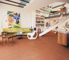 Arredare casa con pavimento in cotto - Pavimento in cotto in loft moderno
