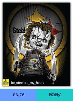 Pittsburgh Steelers NFL Curse Of Chucky Car Bumper Sticker Decal - 3 or 5 Steelers Cheerleaders, Pitsburgh Steelers, Here We Go Steelers, Steelers Stuff, Pittsburgh Steelers Wallpaper, Pittsburgh Steelers Jerseys, Pittsburgh Skyline, Steeler Nation, Football Memes