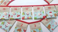 Christmas Advent Calendar Bunting~Children's Pocket Advent Calendar~Christmas Banner~Christmas Decoration by ElizaGraceUK on Etsy