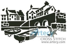 Artecy Cross Stitch. Landscape Silhouette 1 Counted Cross Stitch Pattern to print online.