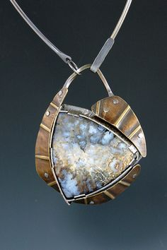 pendant, sterling silver, brass, agate  fold-formed, forged, riveted