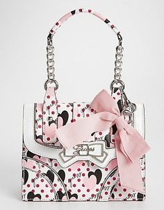 @ Pat Huston Guess White Multi Pin Up Handbag Looks just like the same style purse I just bought just different color but I want this one too.
