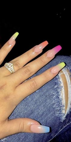 Pretty Multicolored Nail Art Designs For Spring and Summer 2019 rainbow nail. - Pretty Multicolored Nail Art Designs For Spring and Summer 2019 rainbow nails, colorful nail ar - Ombre Nail Designs, Acrylic Nail Designs, French Nails, Multicolored Nails, Colorful Nail, Aycrlic Nails, Coffin Nails, Manicures, Stiletto Nails