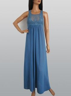 Vintage 1970s Blue Daisy Design Cheesecloth Maxi Dress available to buy online at Virtual Vintage Clothing £32