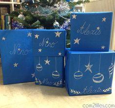 Paquets cadeaux argente
