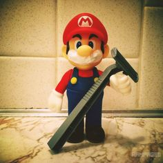 Mario gets prepared for the end of Movember. Goodbye iconic mustache! #nintendo #mario