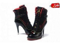 Discount Nike High Heels High Black Red Shoes