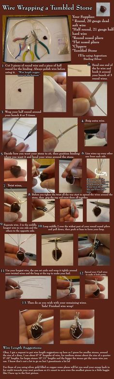 "FREE-HOW -- wire wrap around a stone tutorial -- ""Wire wrapping tumbled stones.""…"