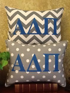 ALPHA DELTA PI Sorority Stenciled Pillow by BurlapPillowsEtc