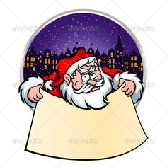 Santa with Christmas Scroll  #GraphicRiver         Santa Claus whith Christmas-scroll on the background of a winter night city. You can use this vector illustration as Christmas postcard, e-banner, flyer or to improve any of your printed material. Included: - EPS10 (The file is well organized and easy to edit); - JPG high resolution (4000×4000 px); - PNG high resolution on transparency background 4000×4000 px). Merry Christmas and Happy New year!      Created: 22December12…