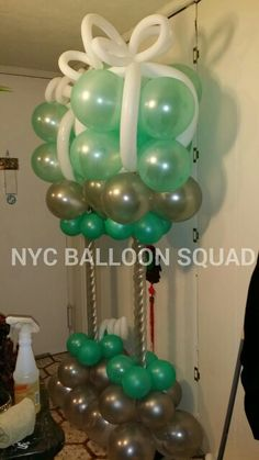 Tiffany and Co inspired balloon columns party design