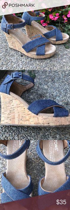 2e2e79a2c17 TOMS Sienna Blue Jean Cork Wedge Sandal Beautiful denim/jean material TOMS  sandals! Features