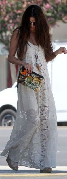 Selena Gomez White Romantic Maxi Boho Dress | Boho Celebrity Style | The Berry                                                                             Source