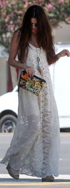 Selena Gomez White Romantic Maxi Boho Dress |Boho Celebrity Style |The Berry                                                                             Source