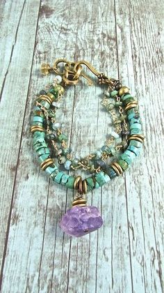 cool Raw Amethyst/Turquoise and Peruvian Opal  Boho Chic Bracelet...