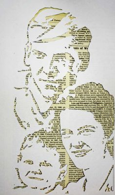 Judy Wise, a wonderful mixed media & encaustic artist, cut this stencil from a photo of her family. This can easily be adapted into any art level assignment! No instructions included, but I think it's pretty easy for all to figure out. Stencil Graffiti, Stencil Art, Stencils, Wort Collage, Papercut Art, Newspaper Art, Newspaper Background, Frida Art, A Level Art
