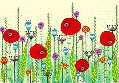 Large Poppy Meadow Art Print 24x34 by EnchantedCrayons on Etsy, $45.00