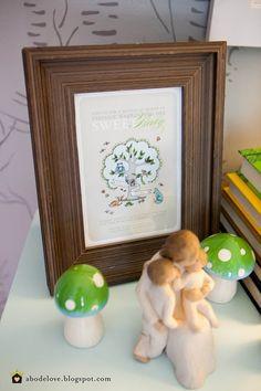 abodelove.blogspot.com #nursery #woodland #birch #stencil #invitation #shower #mushrooms