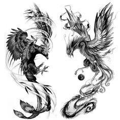 Phoenix Tattoo Sleeve, Phoenix Tattoo For Men, Phoenix Bird Tattoos, Phoenix Tattoo Design, Sleeve Tattoos, Phoenix Design, Tattoo Design Drawings, Tattoo Sketches, Tattoo Designs Men