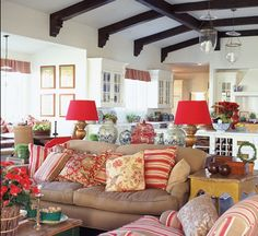 mary mcdonald room accessorized with red