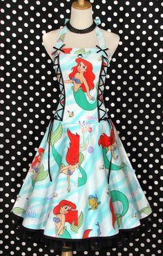 Awesome dresses made from vintage bed sheets... Ariel, Batman, Gizmo and all sorts of other awesome retro geekery!