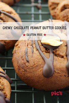 The chewiest cookie recipe ever. Peanut butter, chocolate, gluten free, dairy free and SOO good! Gluten Free Peanut Butter Cookies, Chocolate Peanut Butter Cookies, Chocolate Peanuts, Cookie Recipes, Dairy Free, Coconut, Smooth, Banana, Ethnic Recipes