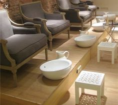 Foot massage station idea, chairs with basin, using stainless or copper wash bin