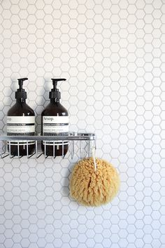 White hexagon (penny) tile - bathroom wall w/ minimalist chrome hardware Bathroom Inspiration, Beautiful Bathrooms, Gray And White Bathroom, Tile Bathroom, Laundry In Bathroom, Hexagon Tiles, Bathroom Design, Hexagon, Bathroom
