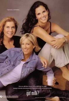 Tennis pros Monica Seles, Chris Evert and Mary Jo Fernandez – Got Milk? Got Milk Ads, Monica Seles, Tennis Whites, St Etienne, Tennis Legends, Vintage Tennis, Tennis Fashion, Tennis Stars, Play Tennis