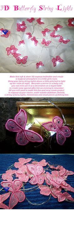embroidershoppe.com | 475 3D Butterfly Fairy String Lights