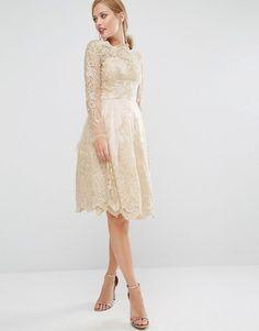 Chi Chi London   Chi Chi London Premium Lace Metallic Gold Midi Dress at ASOS