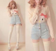 sweater hello kitty high waist hello kitty shirt knee high socks thigh highs shorts High waisted shorts pastels underwear pastel