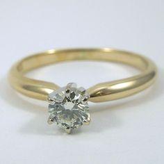 14k Yellow Gold & Diamond Engagement Ring. - $600