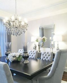 Lighting ideas for your luxury dining room Dining Room Table Decor, Elegant Dining Room, Luxury Dining Room, Dining Room Design, Living Room Decor, Dining Rooms, Glamour Living Room, Table Furniture, Dining Chairs