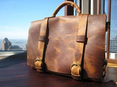 Five handmade leather messenger briefcase - mens five pocket briefcase  in honey brown leather with cross body strap